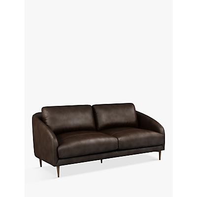 John Lewis & Partners Cape Large 3 Seater Leather Sofa, Dark Leg