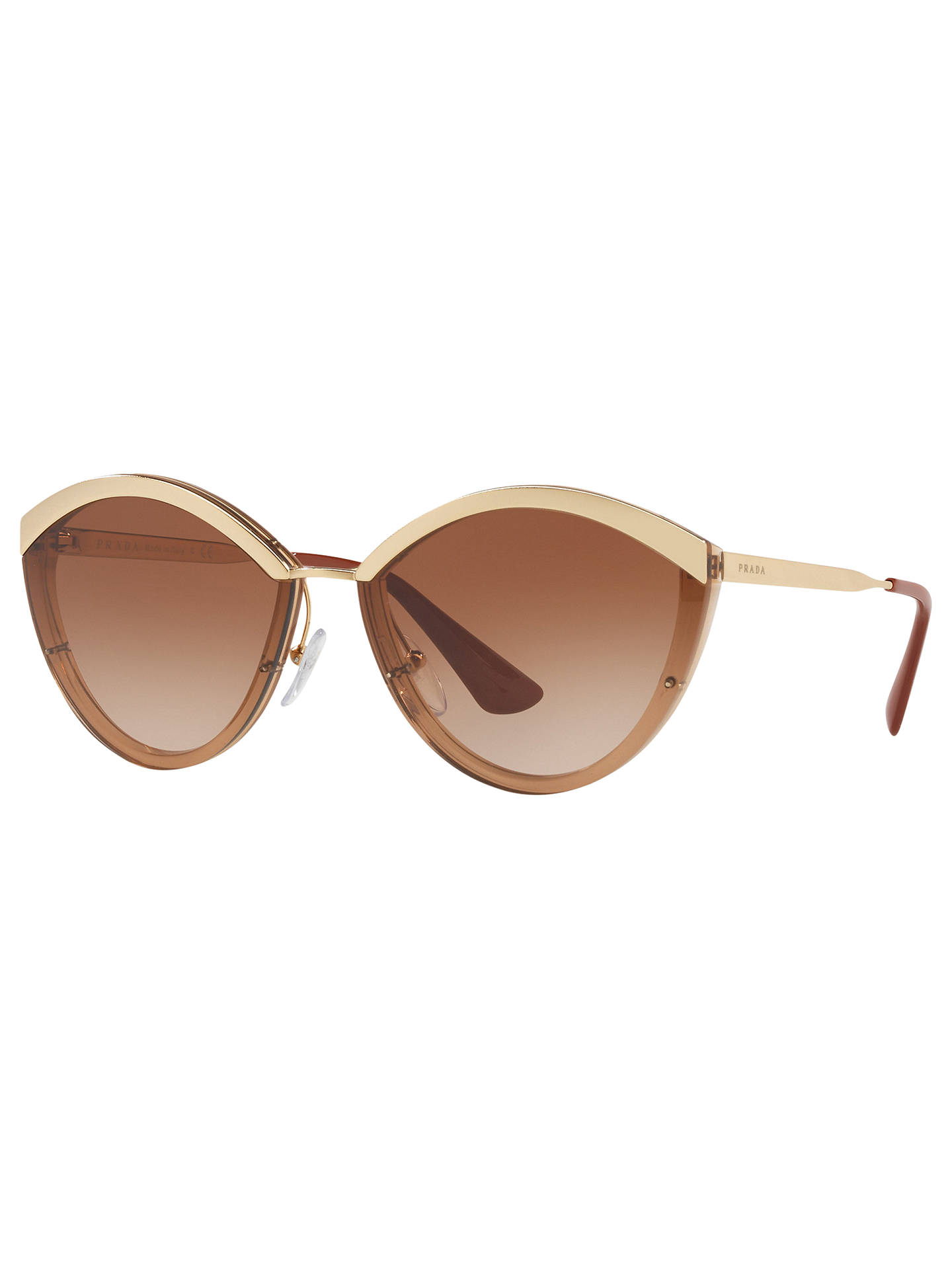 BuyPrada PR 07US Oval Sunglasses, Brown/Gold Online at johnlewis.com