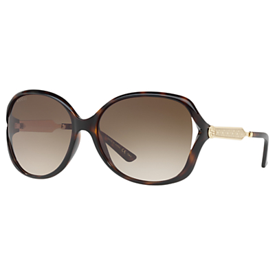 Gucci GG0076S Women's Round Sunglasses, Tortoise/Brown Gradient