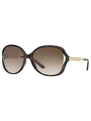 Gucci GG0076S Women's Round Sunglasses, Tortoise/Brown Gradient