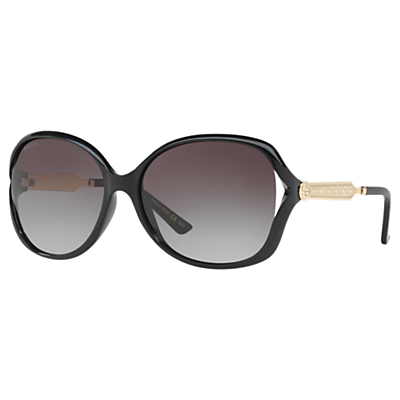 Gucci GG0076S Women's Round Sunglasses, Black/Grey Gradient