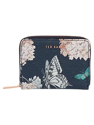 Ted Baker Joelie Narrnia Leather Zip Around Mini Purse, Blue