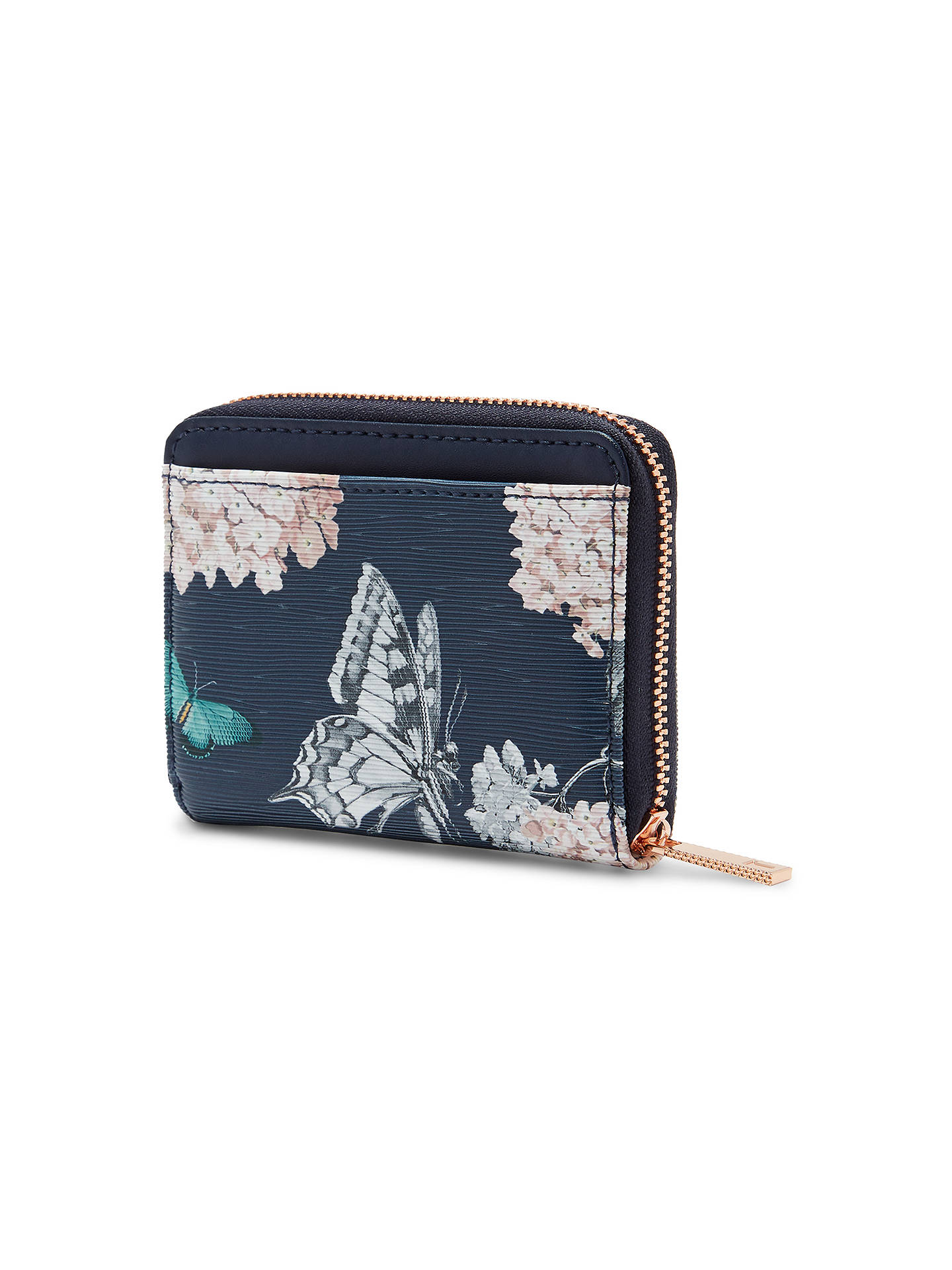 Buy Ted Baker Joelie Narrnia Leather Zip Around Mini Purse, Blue Online at johnlewis.com