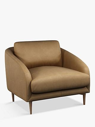 John Lewis & Partners Cape Leather Armchair, Light Leg, Sellvagio Parchment