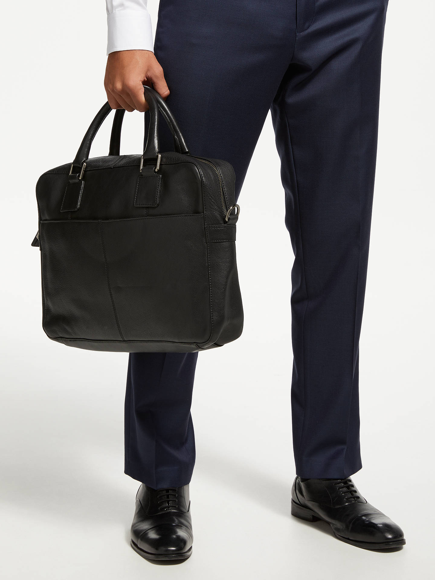 BuyJohn Lewis & Partners Gladstone 2.0 Laptop Leather Briefcase, Black Online at johnlewis.com