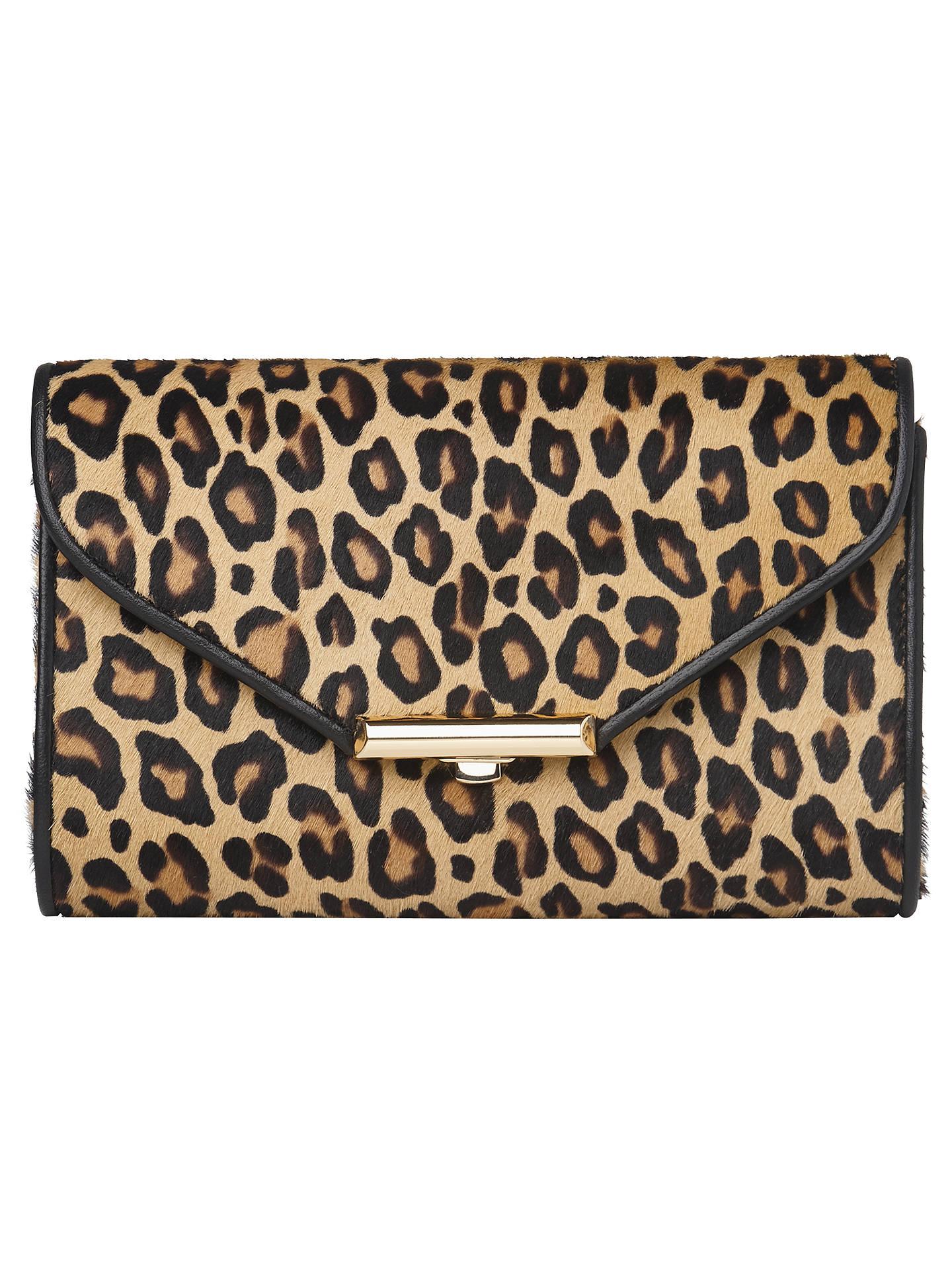 K Bennett Sissi Leopard Print Clutch Bag Neutral Online At Johnlewis