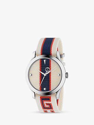 Gucci YA1264071 Unisex G-Timeless Fabric Strap Watch, Multi
