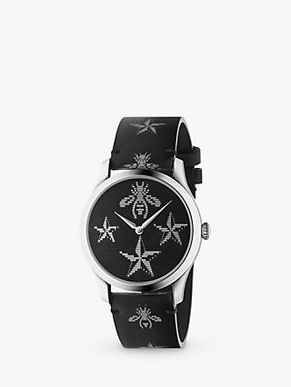 Gucci YA1264105 Unisex G-Timeless Hologram Detail Strap Watch, Black