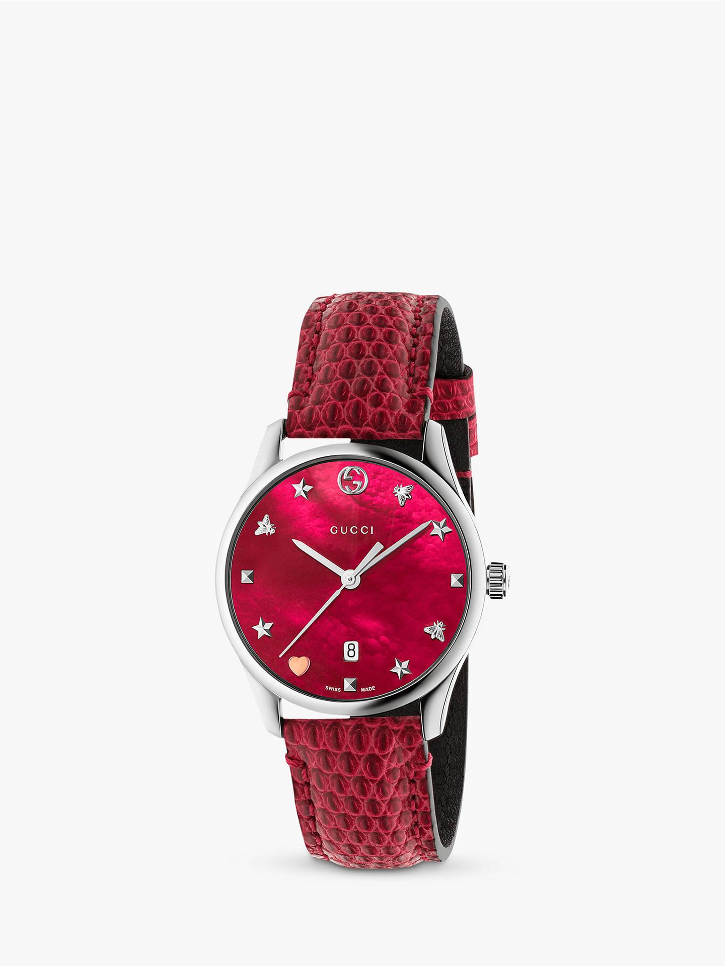2d9d76d4dac Buy Gucci YA126584 Women s G-Timeless Date Leather Strap Watch