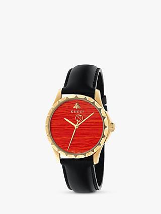 7cd0aa0484 Gucci YA126464 Women s Le Marche des Merveilles Leather Strap Watch