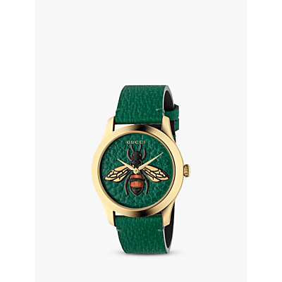 Gucci YA1264065 Unisex G-Timeless Leather Strap Watch, Green