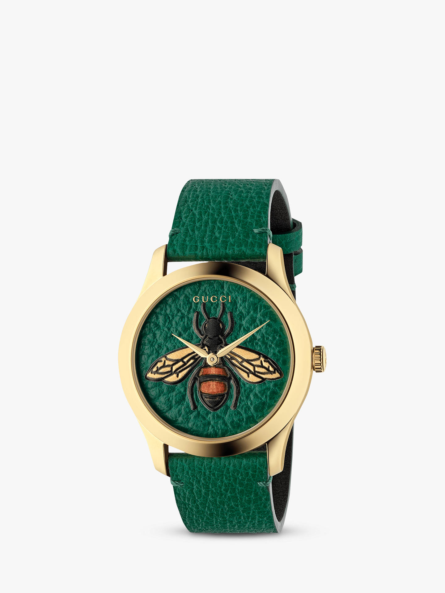 bb0166f534 Buy Gucci YA1264065 Unisex G-Timeless Leather Strap Watch, Green Online at  johnlewis.
