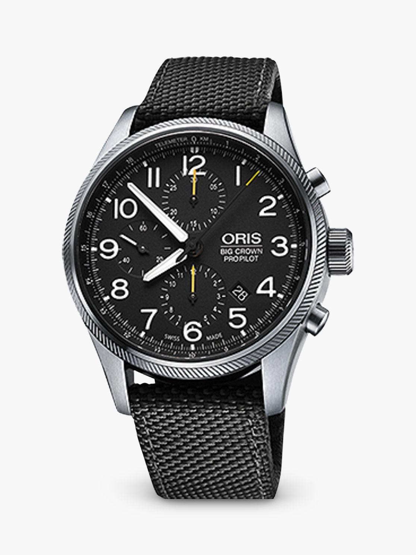Oris Oris Big Crown Pro Pilot 774 7699 4134-0752 Men's Textile Strap Watch, Olive