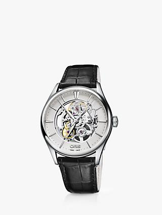 Oris 01 734 7721 4051-07 5 21 64FC Men's Artelier Automatic Skeleton Leather Strap Watch, Black/Silver
