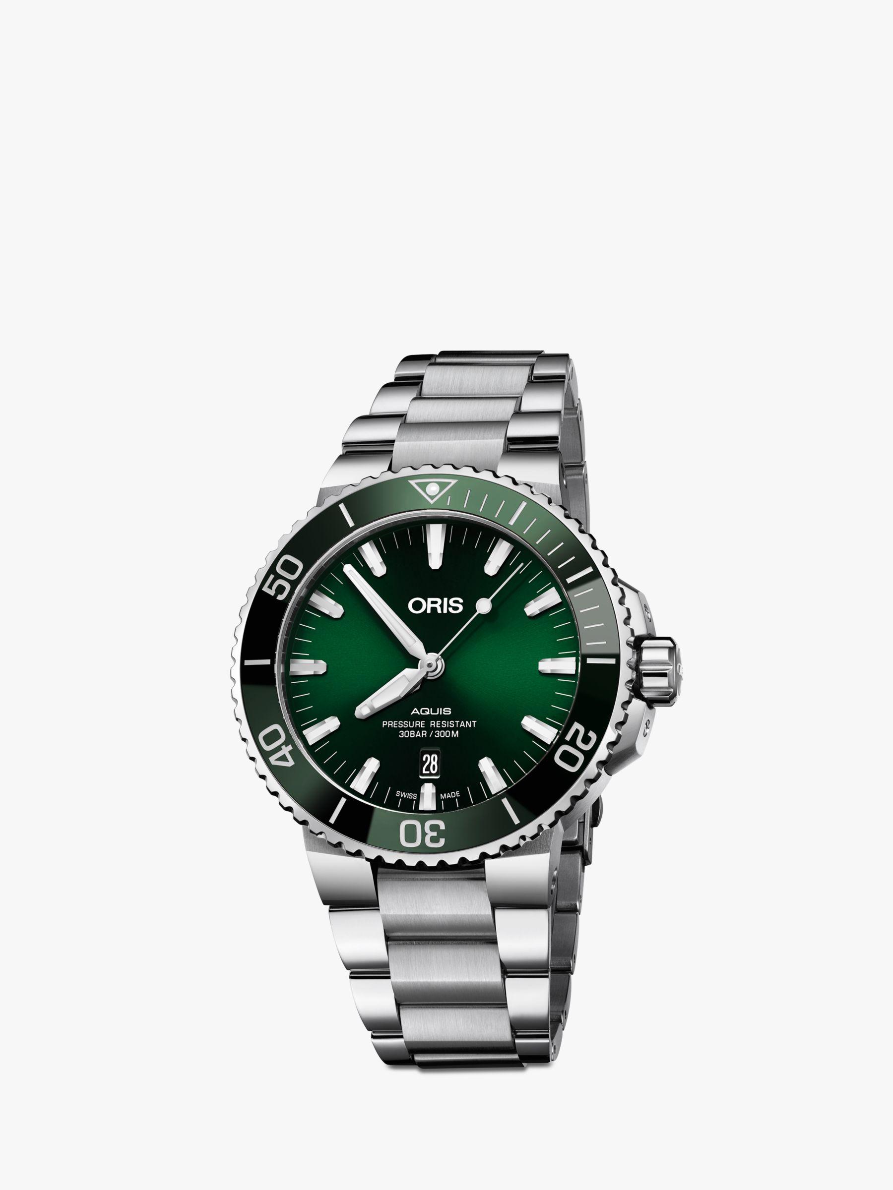 Oris Oris 01 733 7730 4157-07 8 24 05PEB Men's Aquis Date Bracelet Strap Watch, Silver/Green