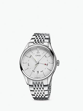 Oris 01-755-7742-4051-07-8-21-79 Men's Artelier Pointer Day Date Automatic Bracelet Strap Watch, Silver