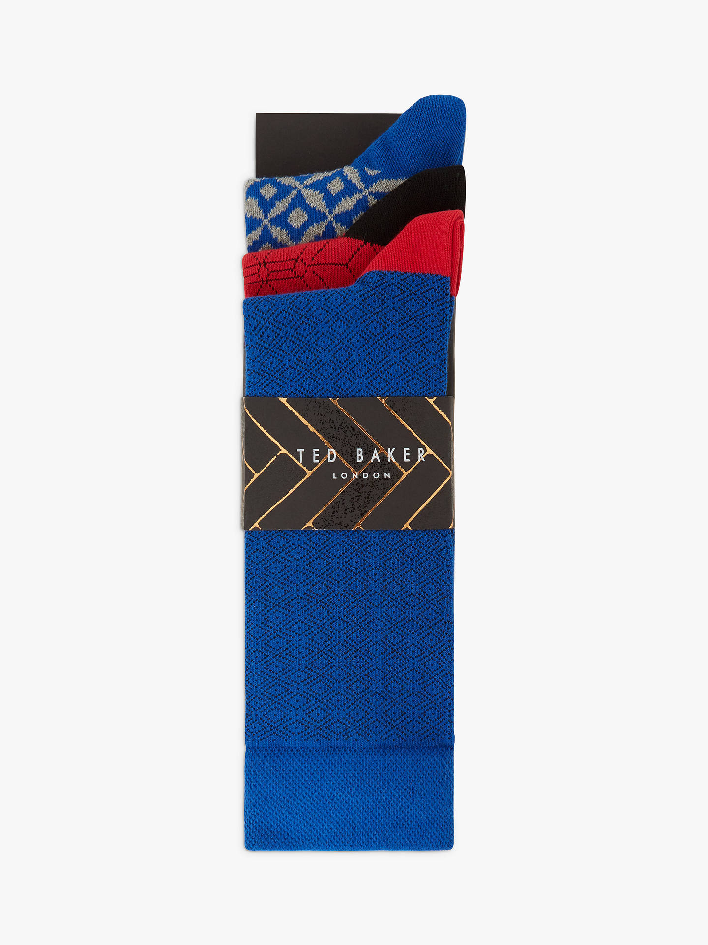 Buy Ted Baker Ronche Tile Print Socks, Pack of 3, One Size, Multi Online at johnlewis.com