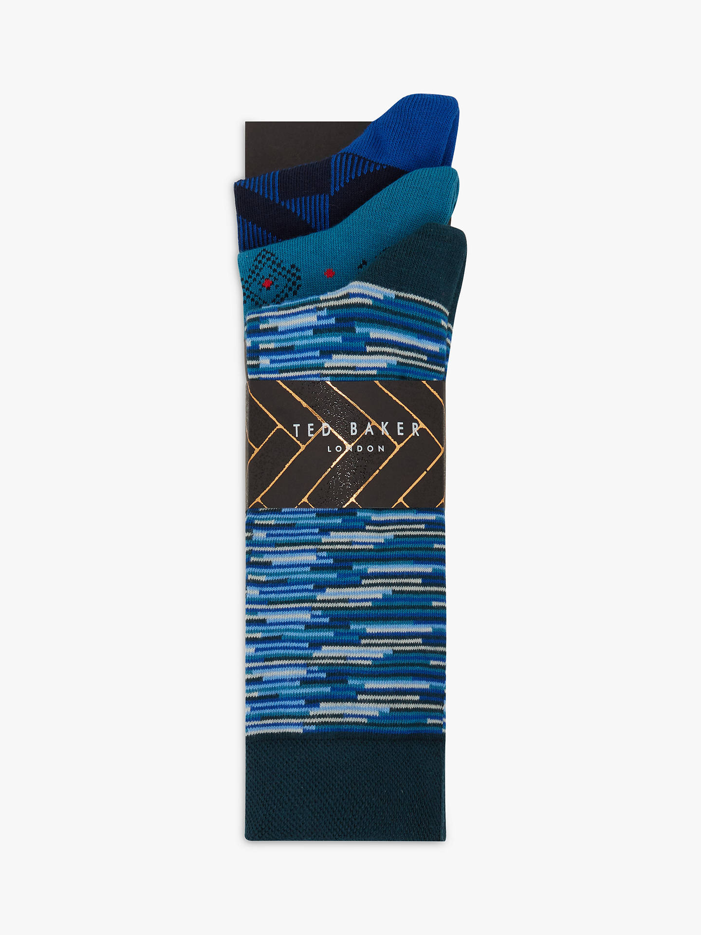 Buy Ted Baker Trappe Geo Print Socks, Pack of 3, One Size, Multi Online at johnlewis.com