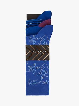 Ted Baker Cointin Floral Stripe Socks, Pack of 3, One Size, Blue