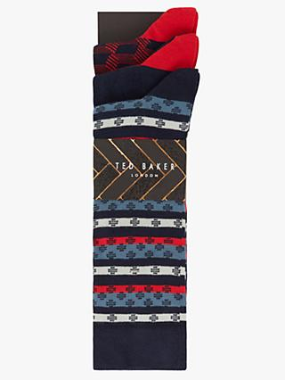 Ted Baker Grantez Dot Stripe Socks, Pack of 3, One Size, Multi