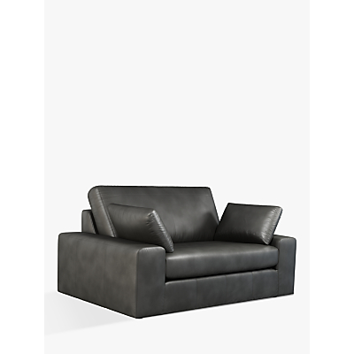 John Lewis & Partners Prism Small 2 Seater Leather Sofa, Dark Leg