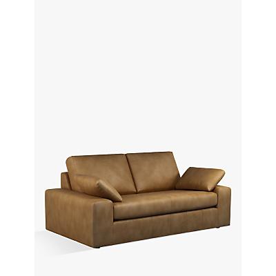 John Lewis & Partners Prism Large 3 Seater Leather Sofa, Dark Leg