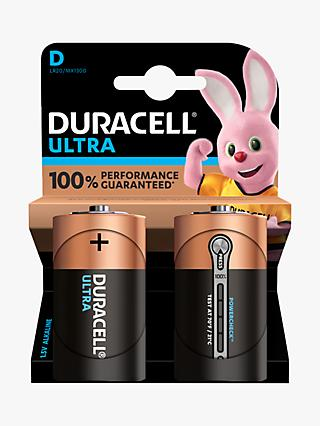 Duracell Ultra Power 1.5V Alkaline D Batteries, Pack of 2