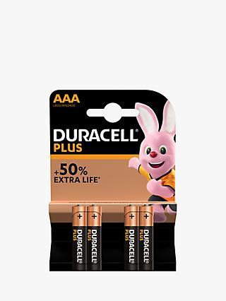 Duracell Plus Power 1.5V Alkaline AAA Batteries, Pack of 4