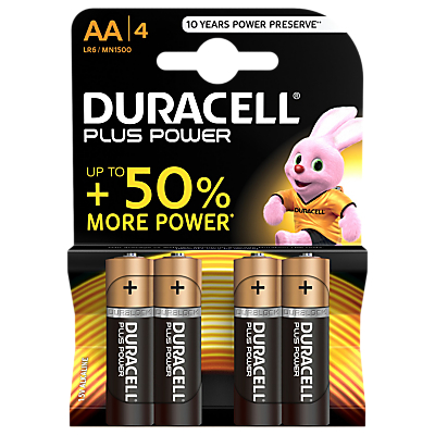 Image of DURACELL Plus Power 1.5V Alkaline AA Batteries, Pack of 4
