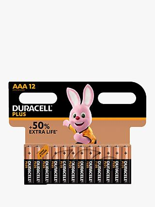Duracell Plus Power 1.5V Alkaline AAA Batteries, Pack of 12