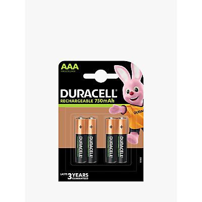 Image of DURACELL Recharge Plus, Rechargeable AAA Batteries, Pack of 4