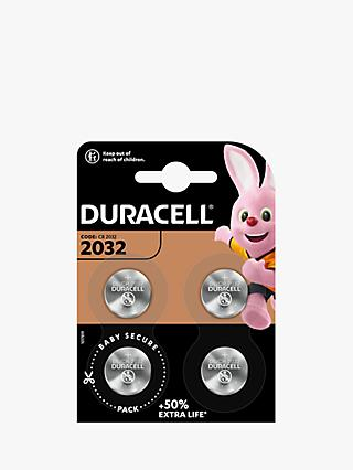 Duracell 3V Lithium Coin Batteries, 2032, Pack of 4