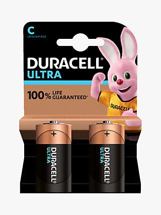 Duracell Ultra Power 1.5V Alkaline C Batteries, Pack of 2
