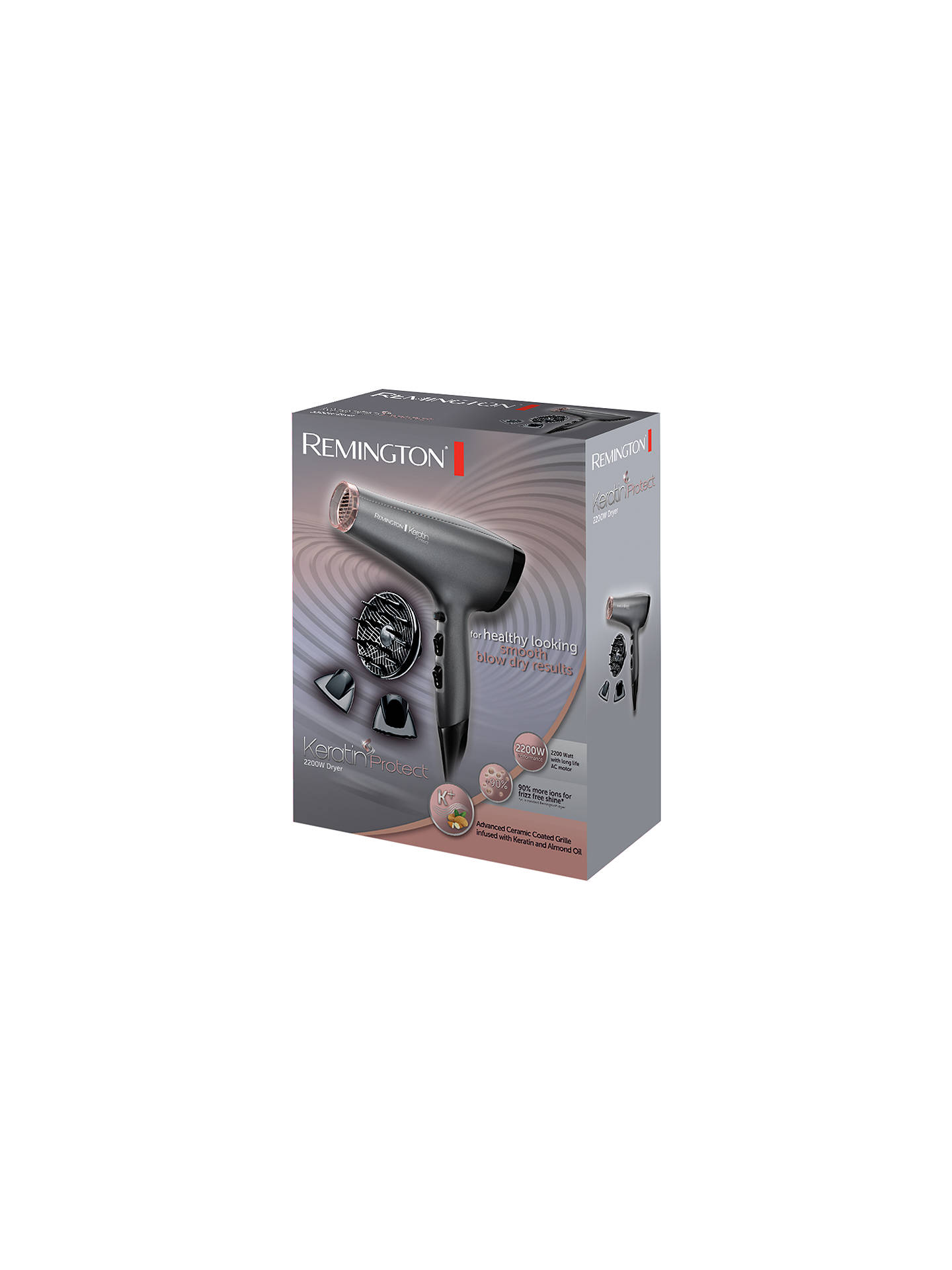 Buy Remington AC8008 Keratin Pro Hair Dryer, Grey Online at johnlewis.com