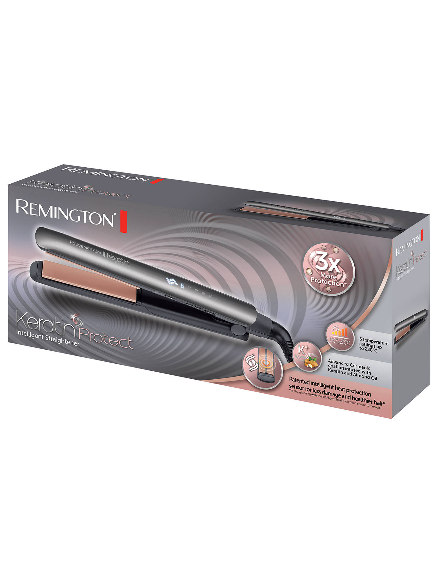 BuyRemington S8598 Keratin Hair Straighteners, Grey Online at johnlewis.com