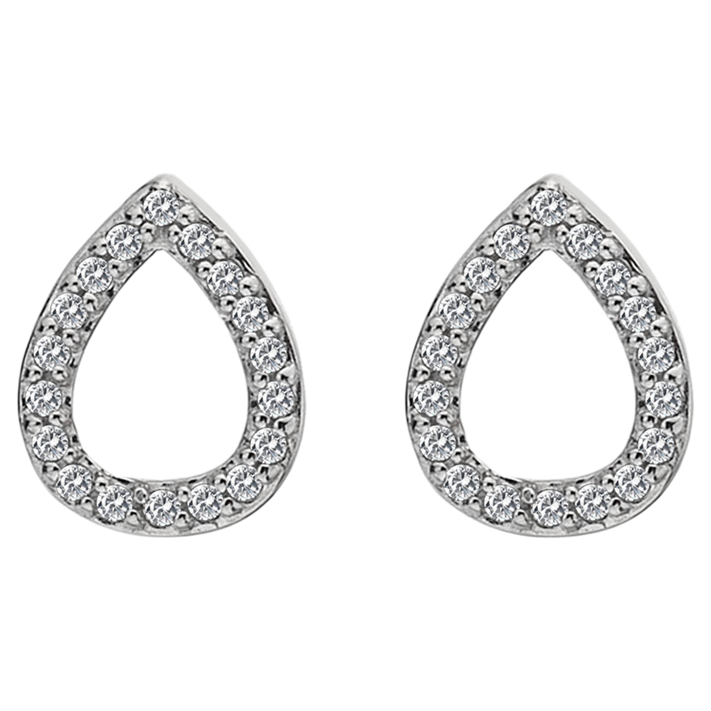 Hot Diamonds Hot Diamonds White Topaz and Diamond Teardrop Stud Earrings, Silver