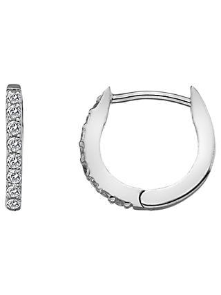 Hot Diamonds White Topaz And Diamond Huggie Hoop Earrings Silver
