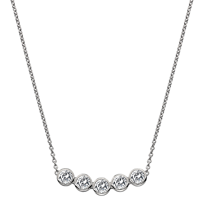 Image of            Hot Diamonds White Topaz and Diamond Chain Necklace, Silver