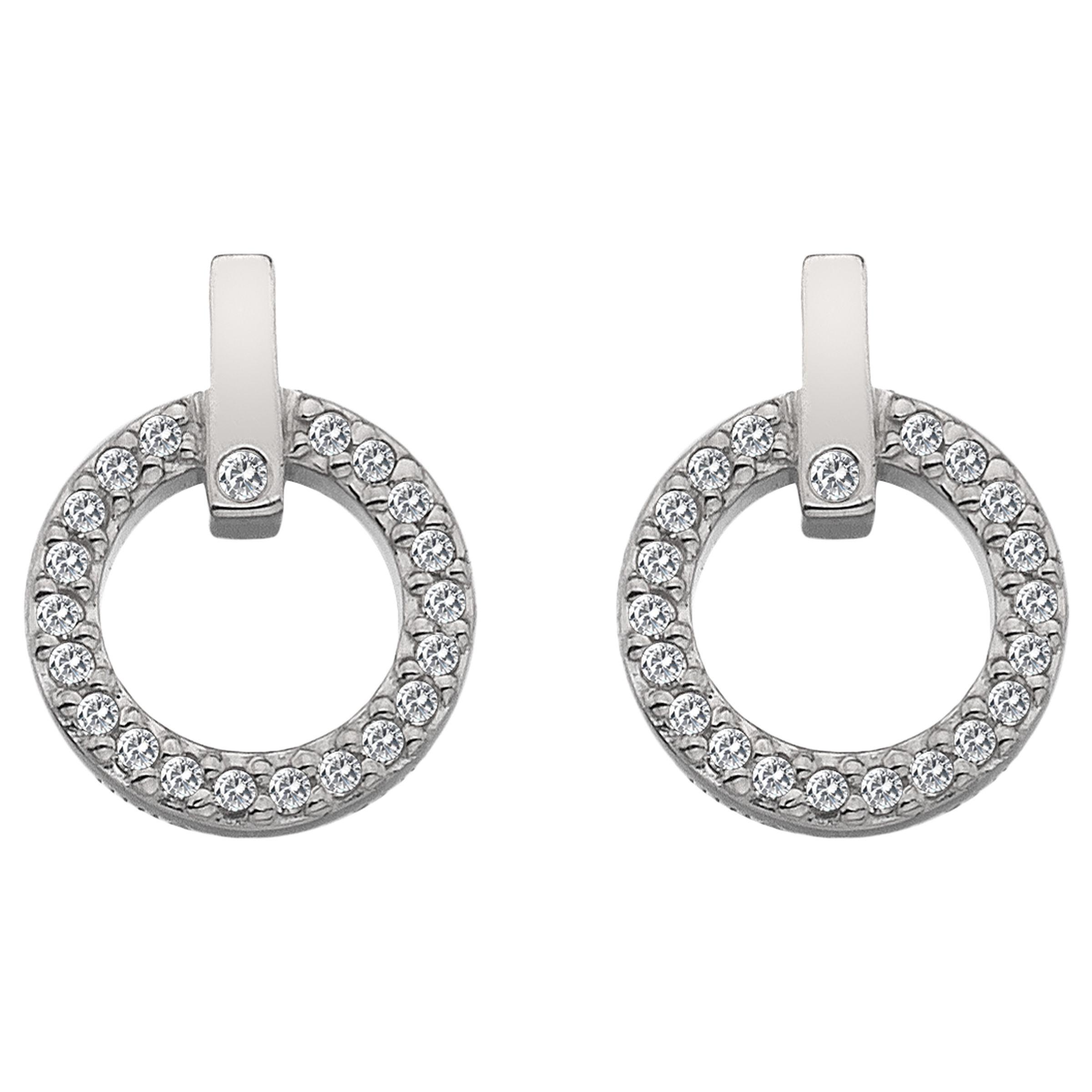 Hot Diamonds Hot Diamonds White Topaz and Diamond Circle Stud Earrings, Silver