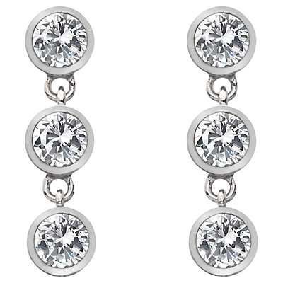 Image of  			   			  			   			  Hot Diamonds White Topaz and Diamond Triple Drop Earrings, Silver