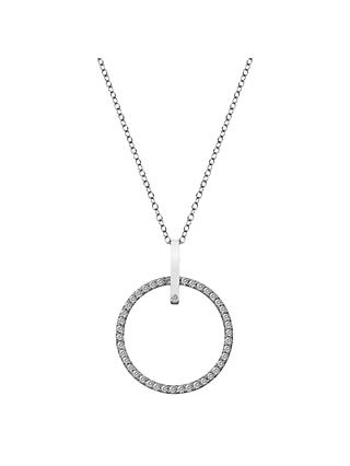 Hot Diamonds White Topaz and Diamond Circle Pendant Necklace, Silver
