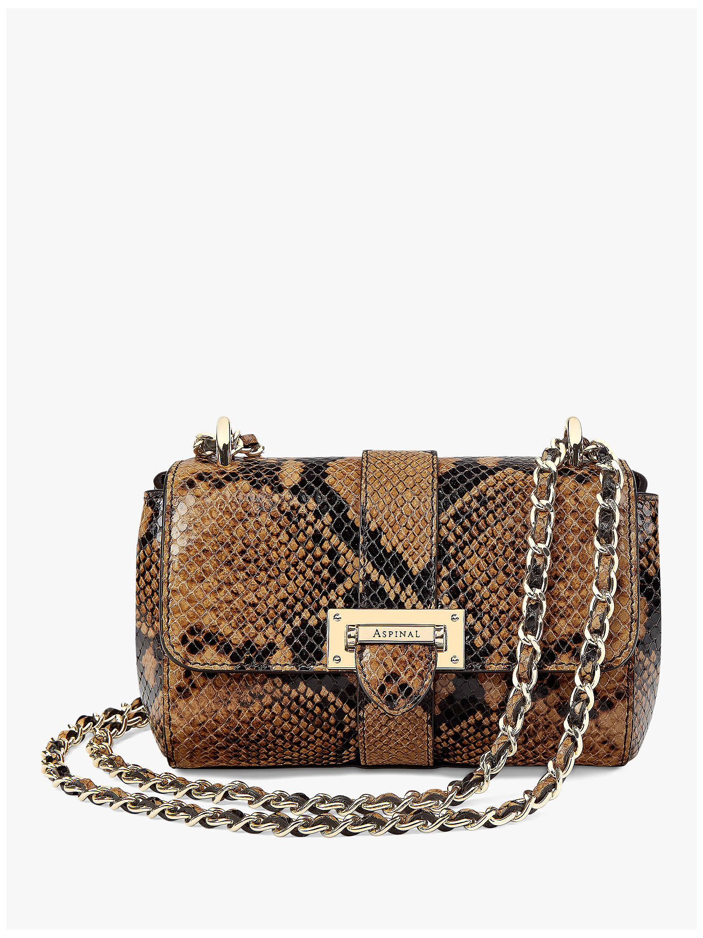 BuyAspinal of London Lottie Micro Leather Cross Body Bag, Mustard Snake  Online at johnlewis. 42e7d4d288