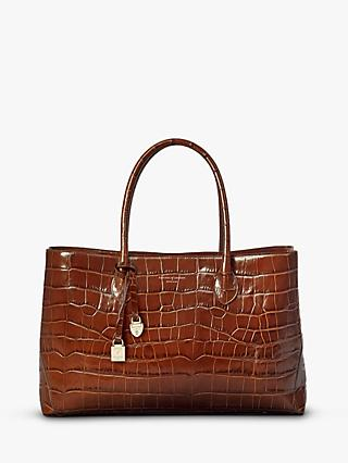 Aspinal of London Large Leather Tote Bag, Brown Croc
