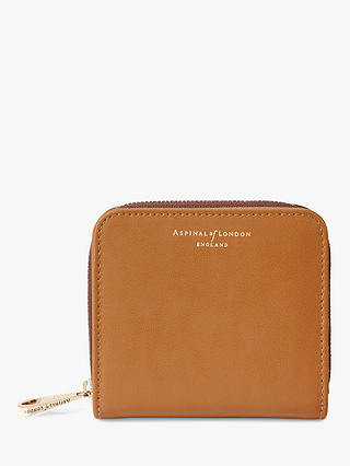 Buy Aspinal of London Smooth Leather Continental Mini Purse, Tan Online at johnlewis.com