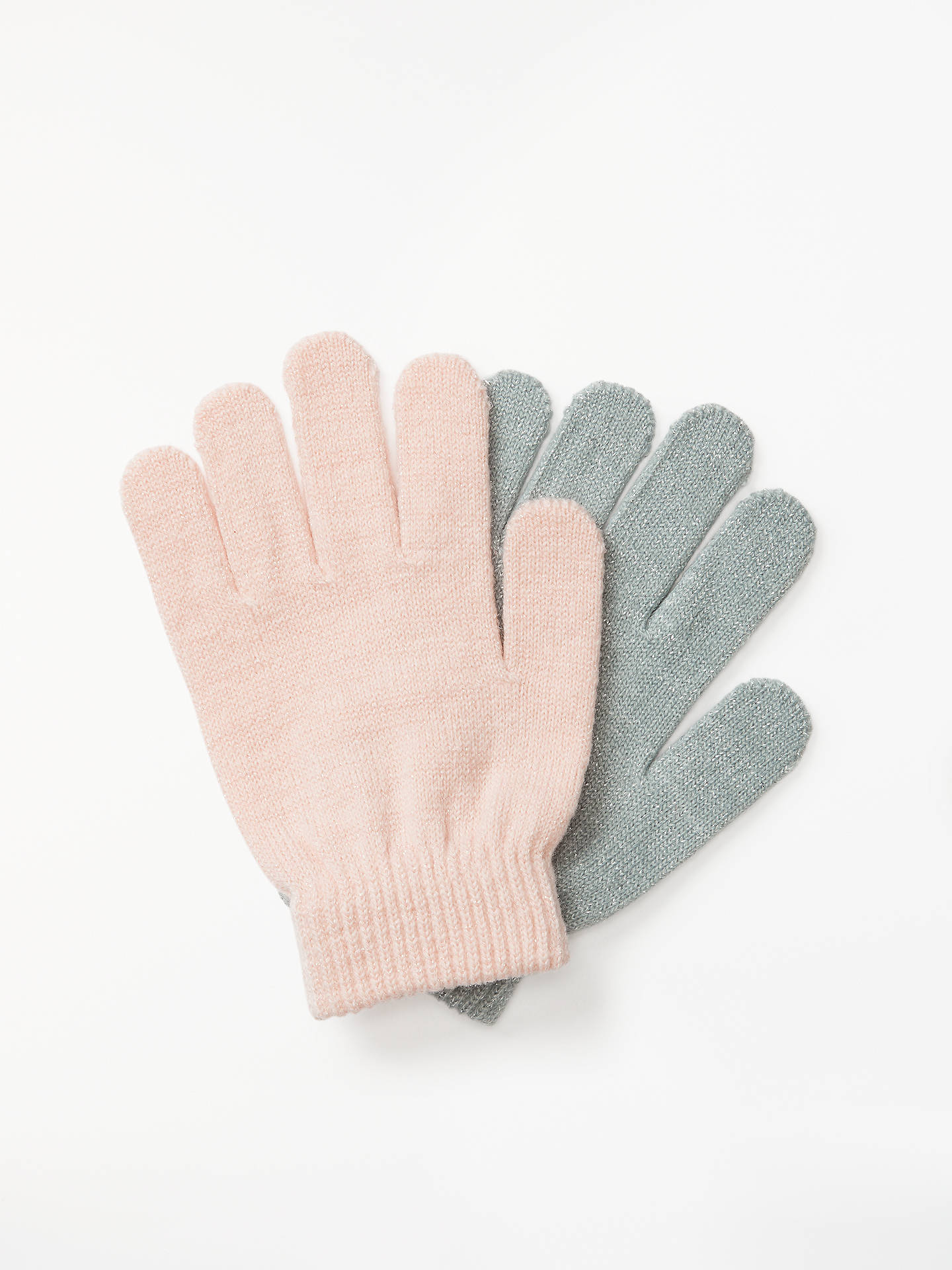 Buy John Lewis & Partners Children's Glitter Knitted Gloves, 2 Pack, Pink/Grey Online at johnlewis.com