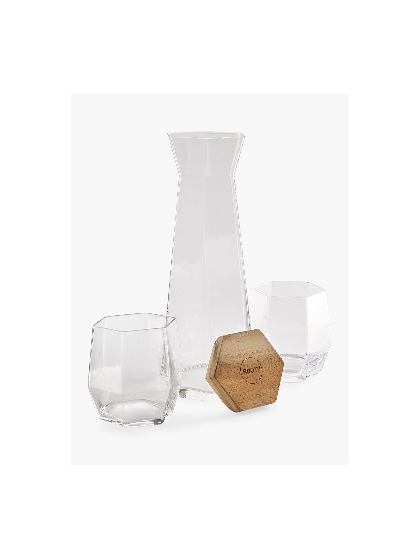 BuyRoot7 Geo 1L Carafe and 2 Tumblers Set, Clear Online at johnlewis.com