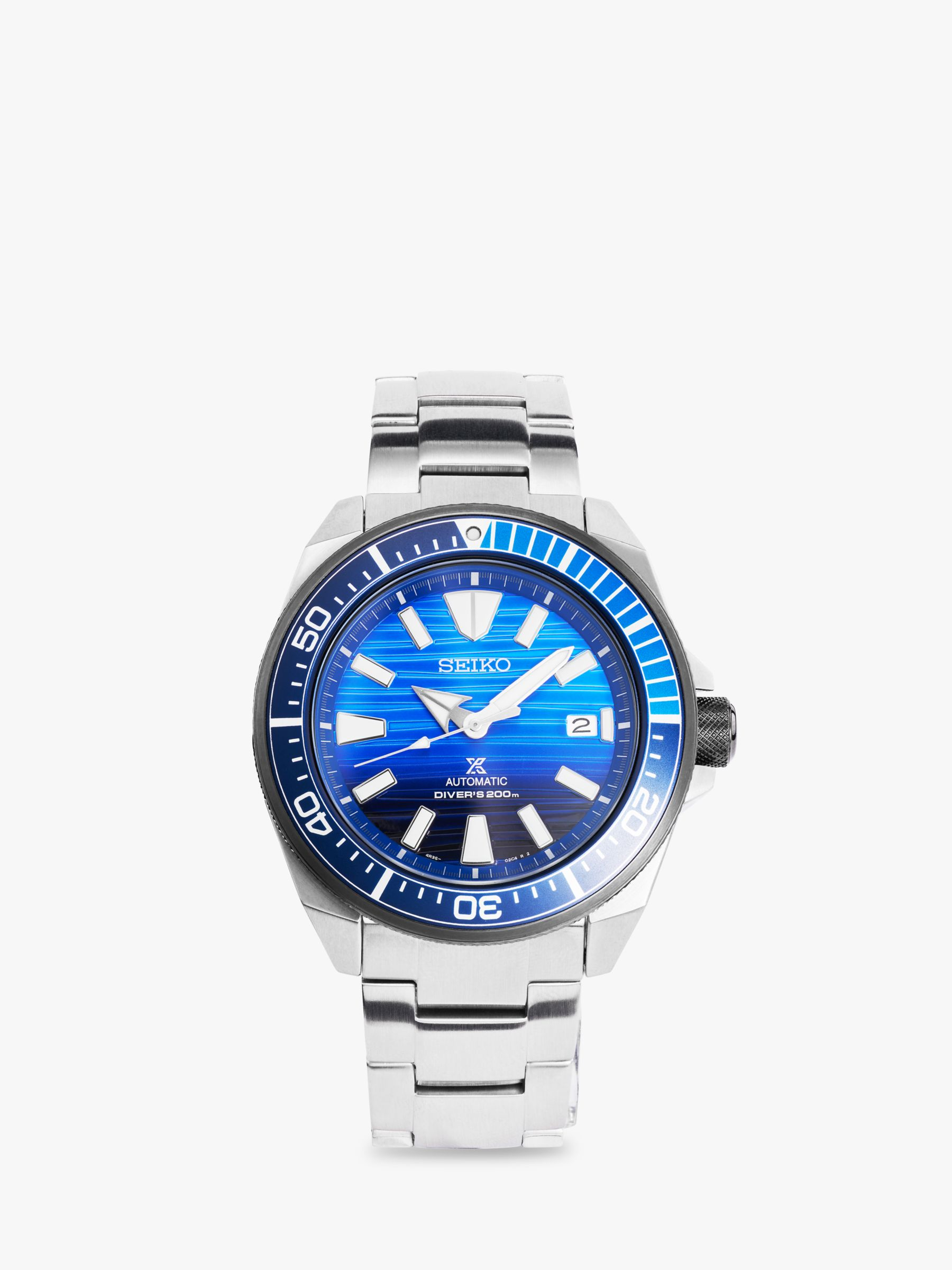 Seiko Seiko SRPC93K1 Men's Prospex Date Automatic Bracelet Strap Watch, Silver/Blue
