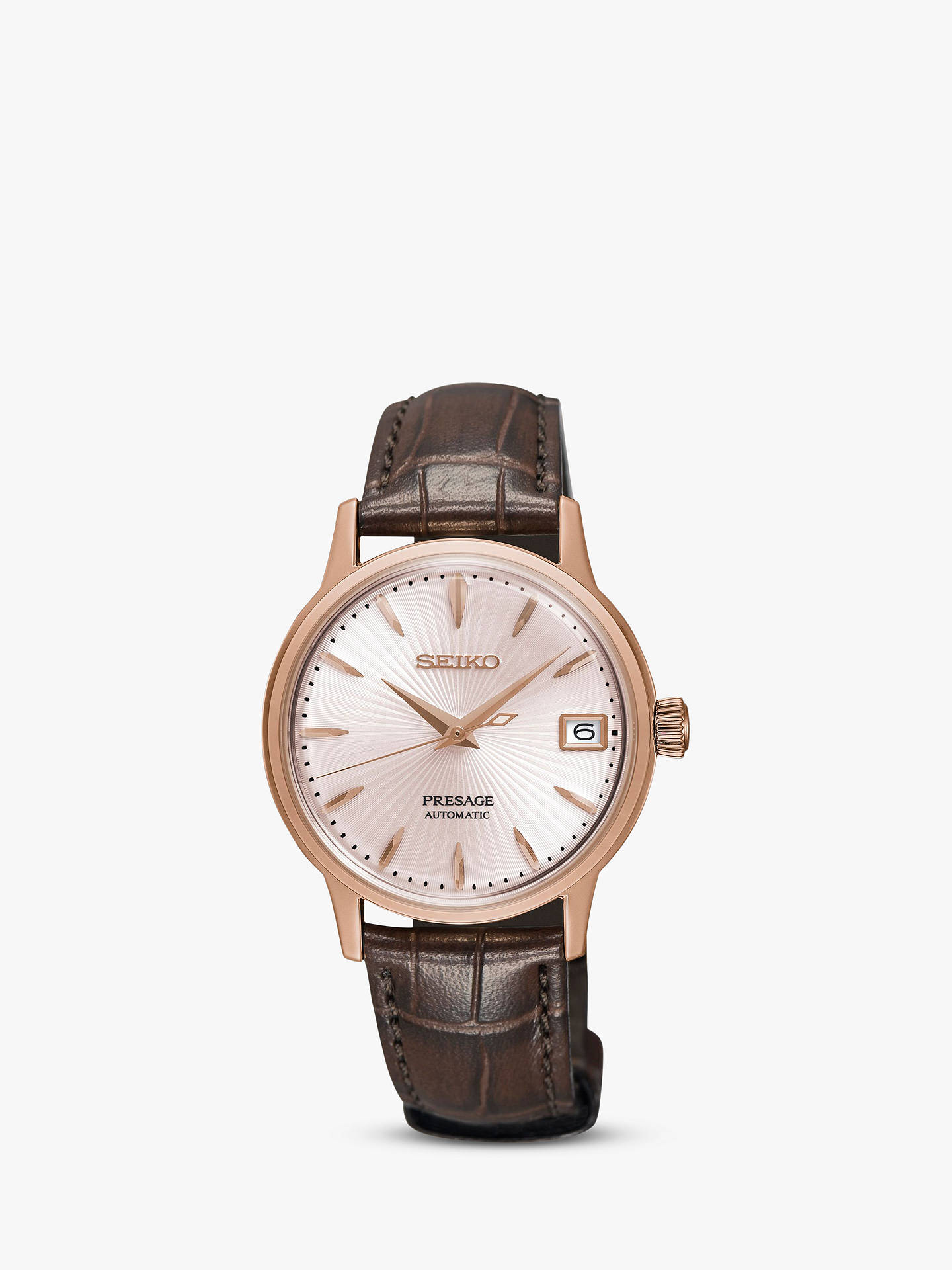 Buy Seiko SRP852J1 Women's Presage Automatic Date Leather Strap Watch, Brown/Rose Gold Online at johnlewis.com