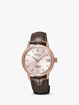 Seiko SRP852J1 Women's Presage Automatic Date Leather Strap Watch, Brown/Rose Gold
