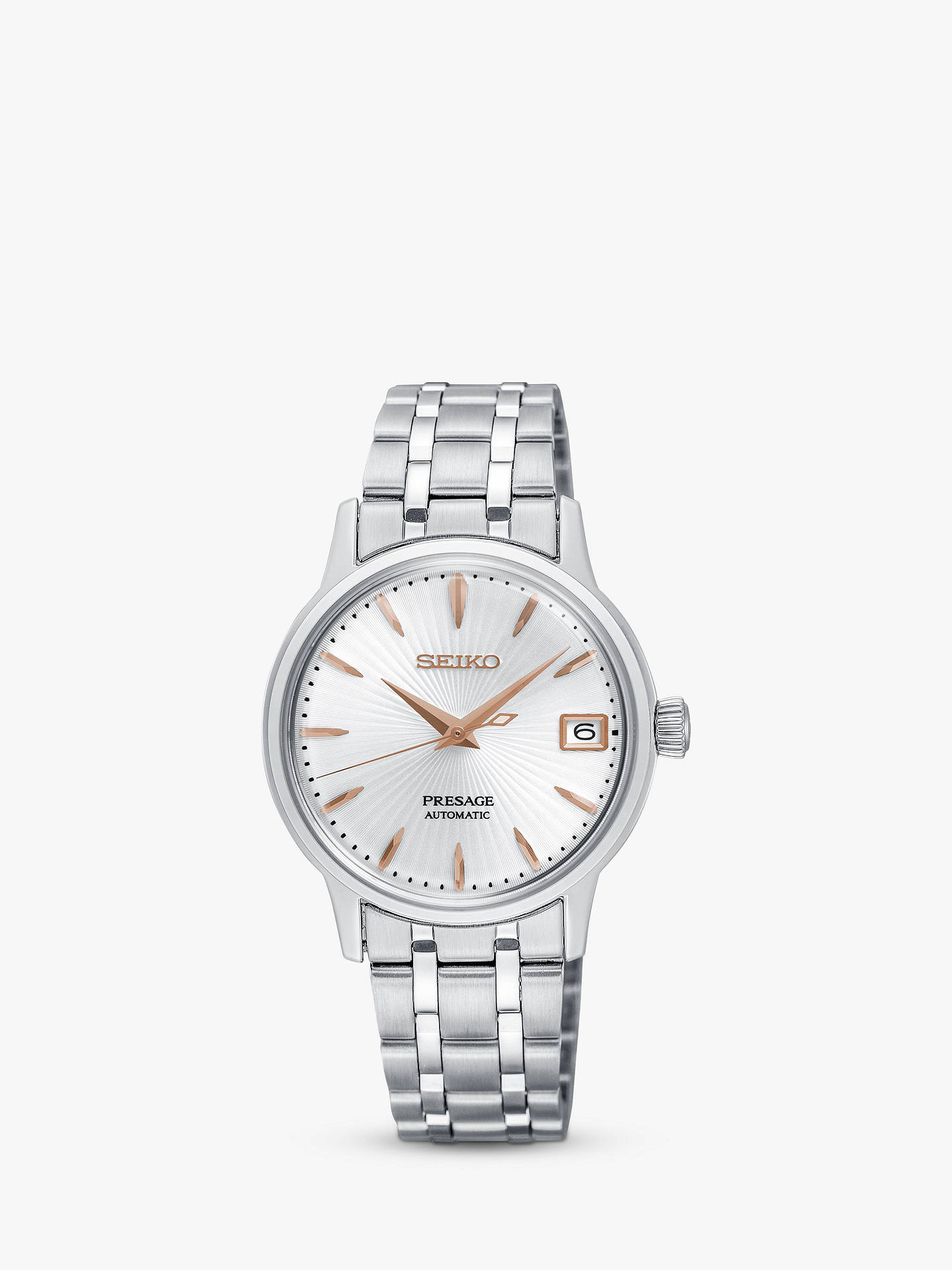 Buy Seiko SRP855J1 Women's Presage Automatic Date Bracelet Strap Watch, Silver Online at johnlewis.com